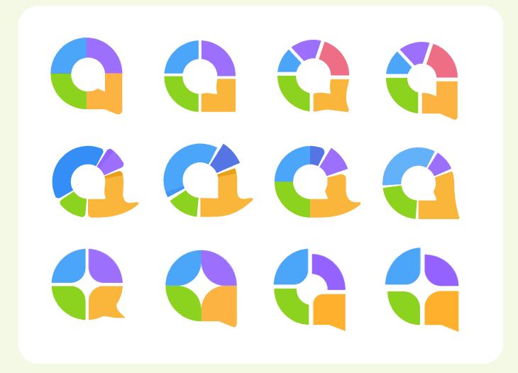 The evolution of the logo mark in AhaSlides' new branding