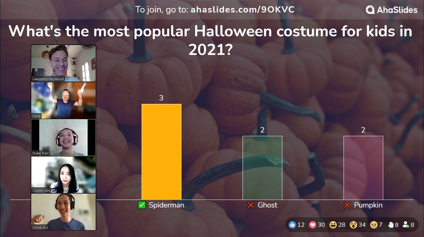 A question from the halloween quiz on AhaSlides free quiz software