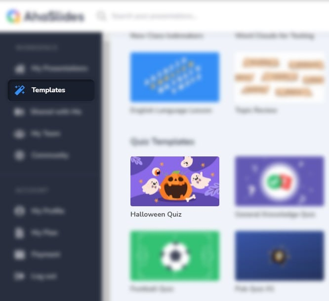 AhaSlides Halloween quiz in the template library